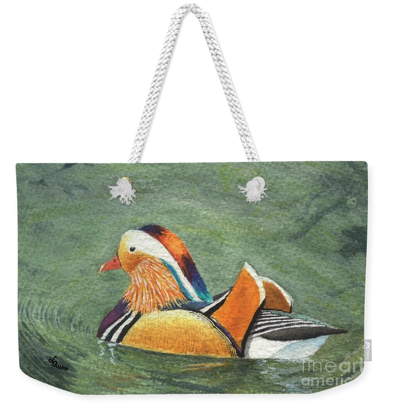 Duck Weekender Tote Bag featuring the painting Mandarin Duck by Lynn Quinn