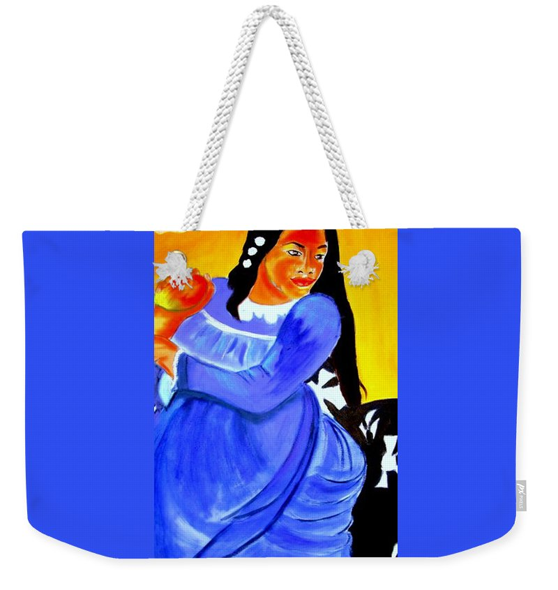 A Detail Of A Pastiche From A Painting By Paul Gauguin 'woman With Mango'. Weekender Tote Bag featuring the painting Mango by Rusty Gladdish