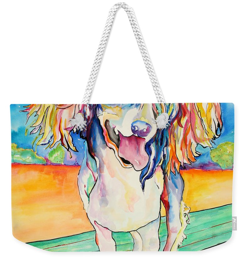 Chinese Crested Weekender Tote Bag featuring the painting Mango Salsa by Pat Saunders-White