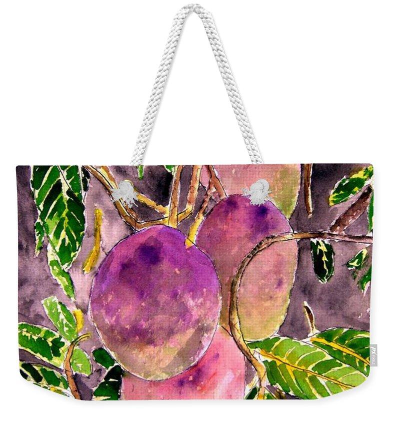Mango Weekender Tote Bag featuring the painting Mango Tree Fruit by Derek Mccrea