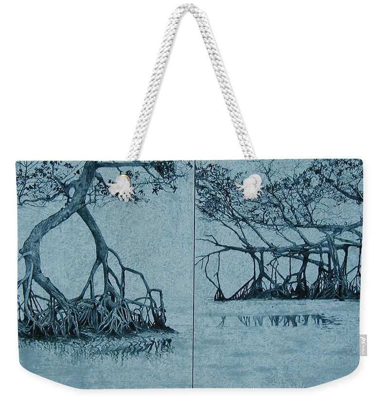 Blue Weekender Tote Bag featuring the painting Mangroves by Leah Tomaino