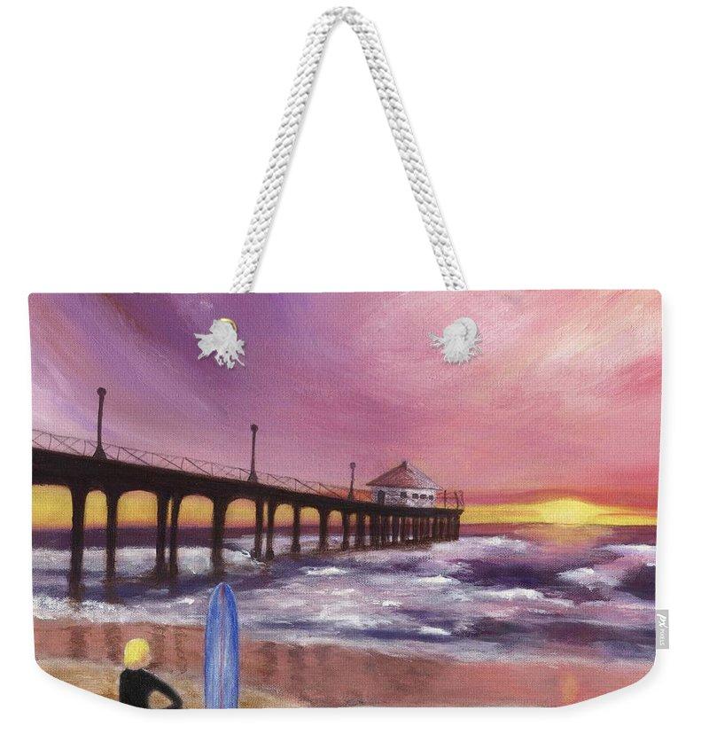 Manhattan Beach Weekender Tote Bag featuring the painting Manhattan Beach Pier by Jamie Frier