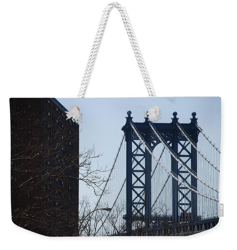 Manhattan Weekender Tote Bag featuring the photograph Manhattan Bridge by Rob Hans