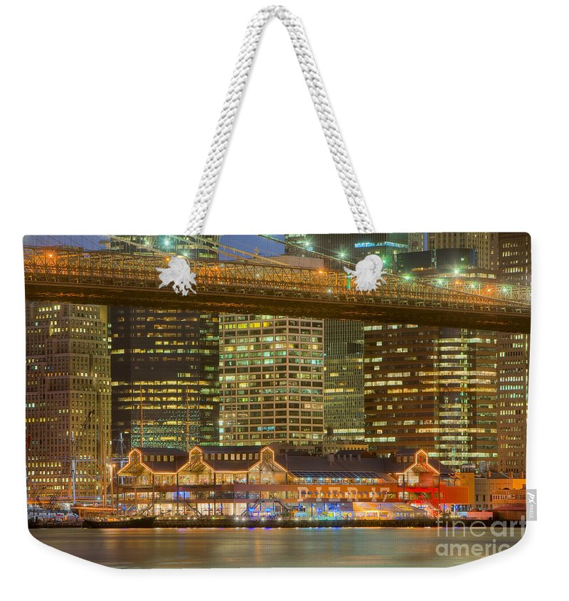 Clarence Holmes Weekender Tote Bag featuring the photograph Manhattan Night Skyline I by Clarence Holmes