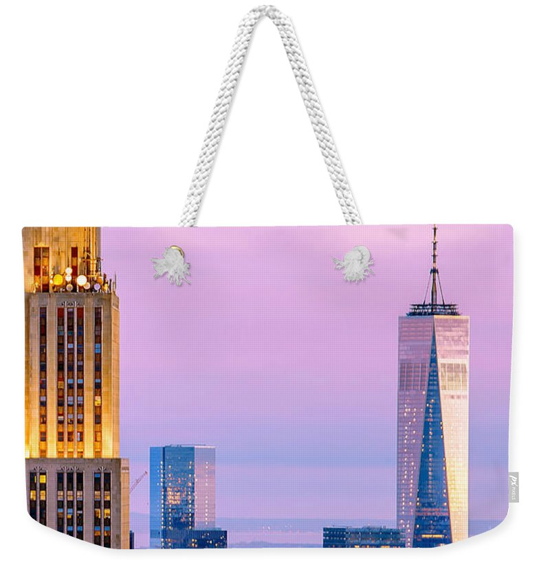 Empire State Building Weekender Tote Bag featuring the photograph Manhattan Romance by Az Jackson