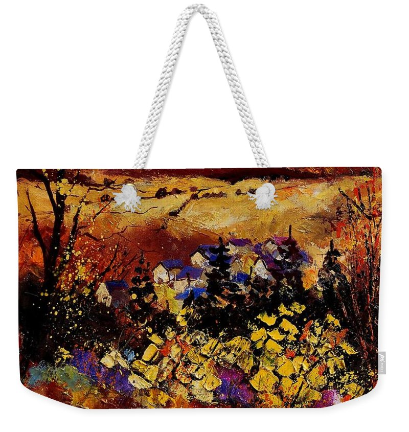 Landscape Weekender Tote Bag featuring the painting Manhay 56 by Pol Ledent
