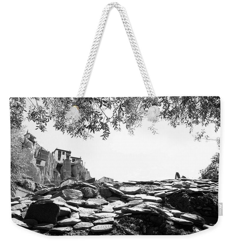 Lamayuru Weekender Tote Bag featuring the photograph Mani Stones by Patrick Klauss