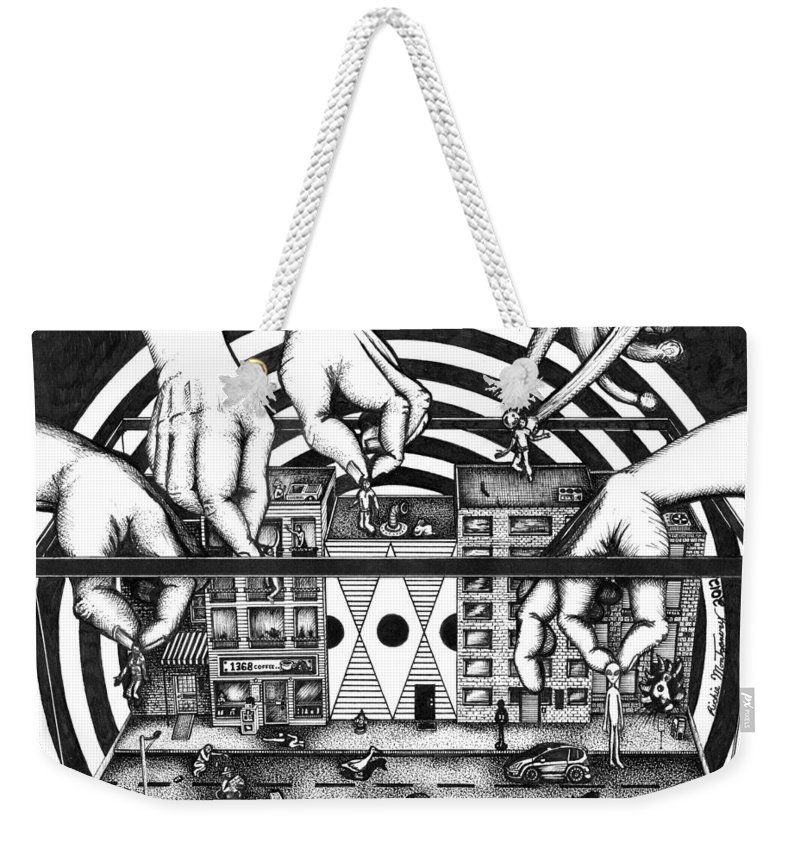 Duck Weekender Tote Bag featuring the drawing Manipulation by Richie Montgomery