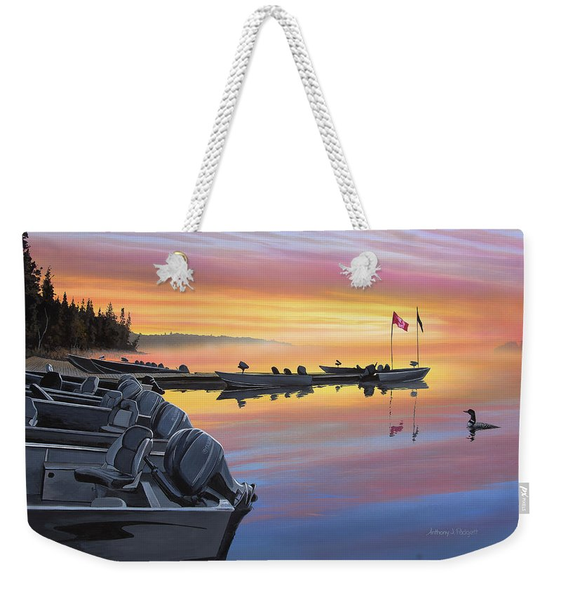 Landscape Weekender Tote Bag featuring the painting Manotak Lodge by Anthony J Padgett