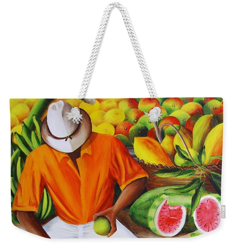 Caribbean Weekender Tote Bag featuring the painting Manuel The Caribbean Fruit Vendor by Dominica Alcantara