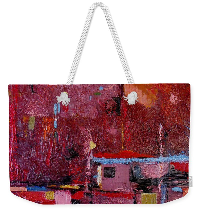 Abstract Weekender Tote Bag featuring the painting Many Mansions by Ruth Palmer