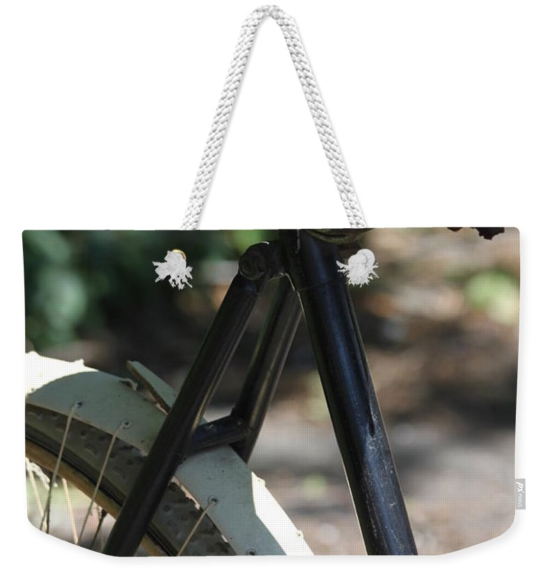 Bike Weekender Tote Bag featuring the photograph Many Miles by Lauri Novak