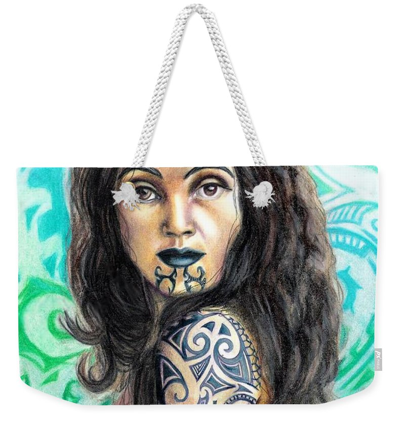 Woman Weekender Tote Bag featuring the drawing Maori Woman by Scarlett Royal