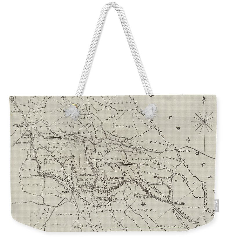 Dower Weekender Tote Bag featuring the drawing Map Illustrating General Sherman's March Through Georgia by John Dower