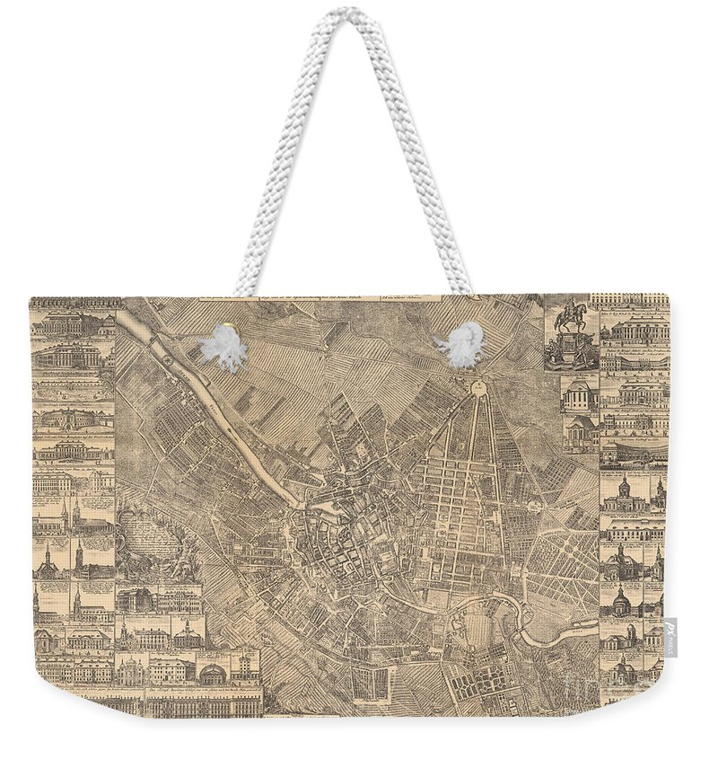 Maps Weekender Tote Bag featuring the painting Map Of Berlin Showing Buildings Of Interest, 1773 by Johann David Schleuen