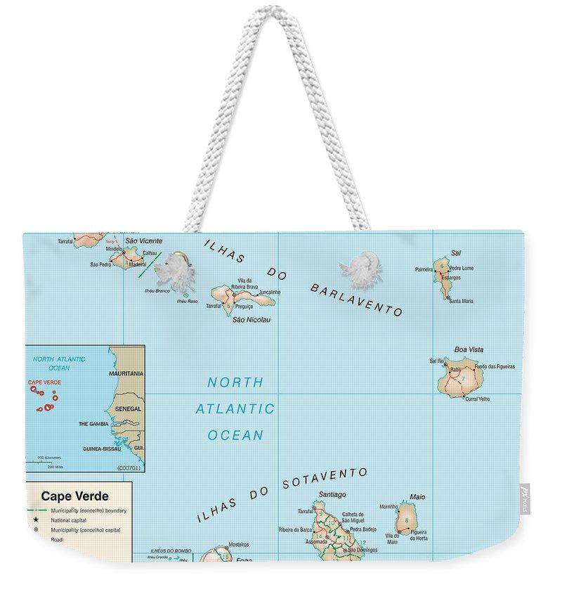 Atlas Weekender Tote Bag featuring the mixed media Map Of Cape Verde by Roy Pedersen