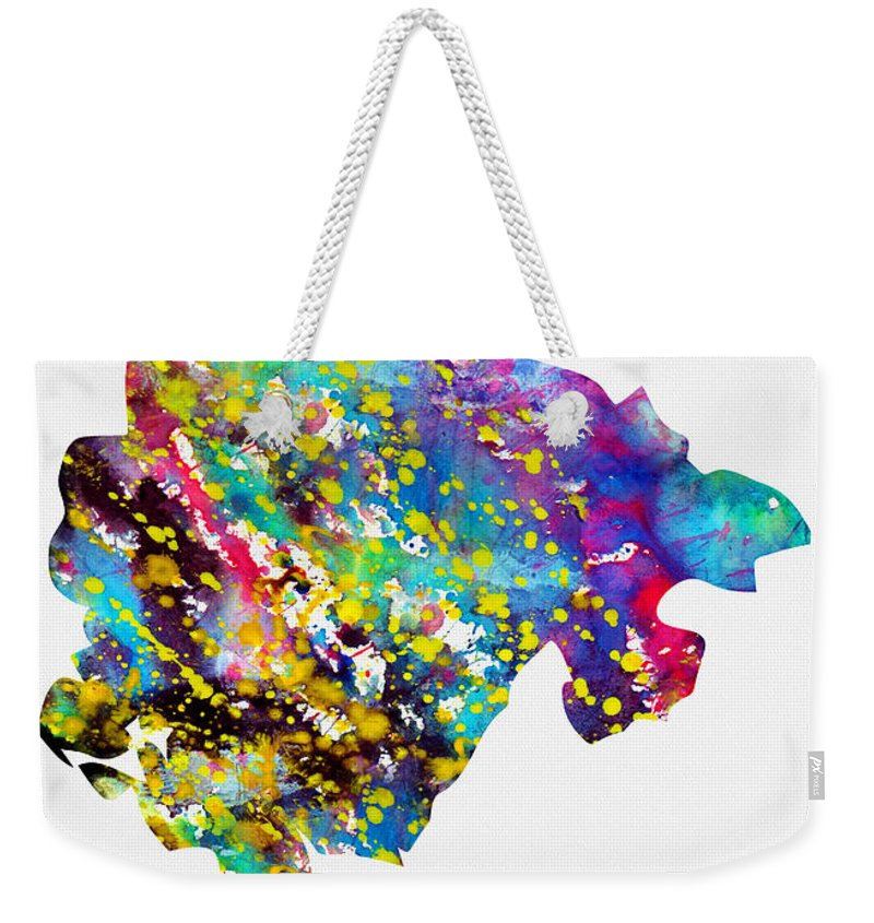 Montenegro Weekender Tote Bag featuring the digital art Map Of Montenegro-colorful by Erzebet S