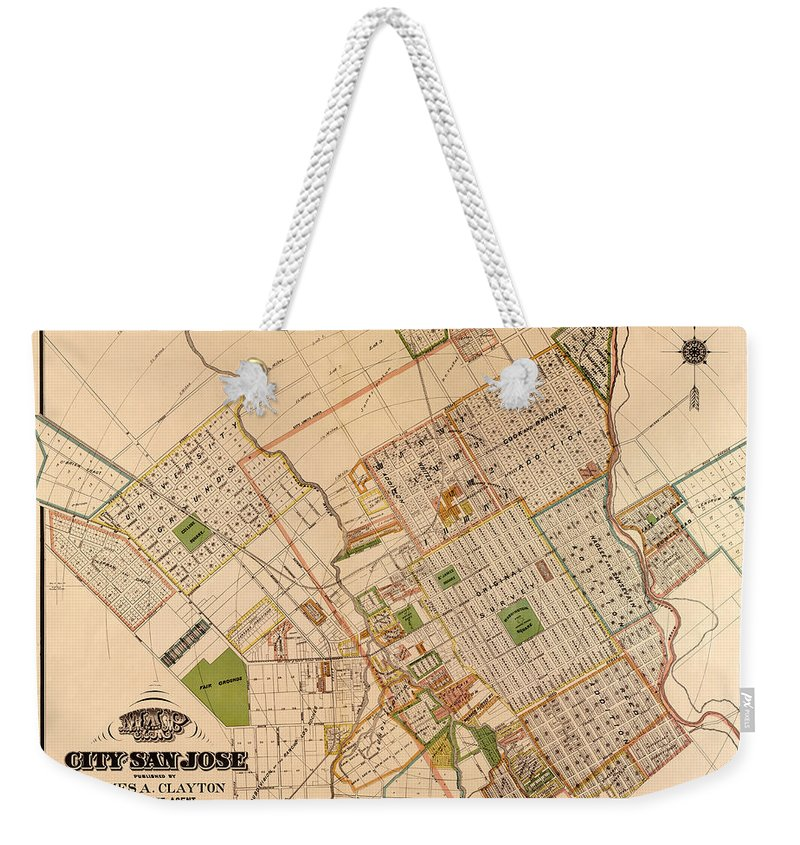 San Jose Weekender Tote Bag featuring the photograph Map Of San Jose 1886 by Andrew Fare