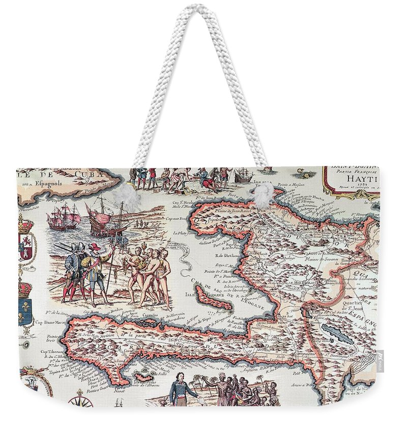 Maps Weekender Tote Bag featuring the drawing Map Of The Island Of Haiti by French School