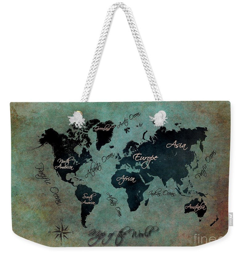 Map Of The World Weekender Tote Bag featuring the digital art Map Of The World by Justyna JBJart