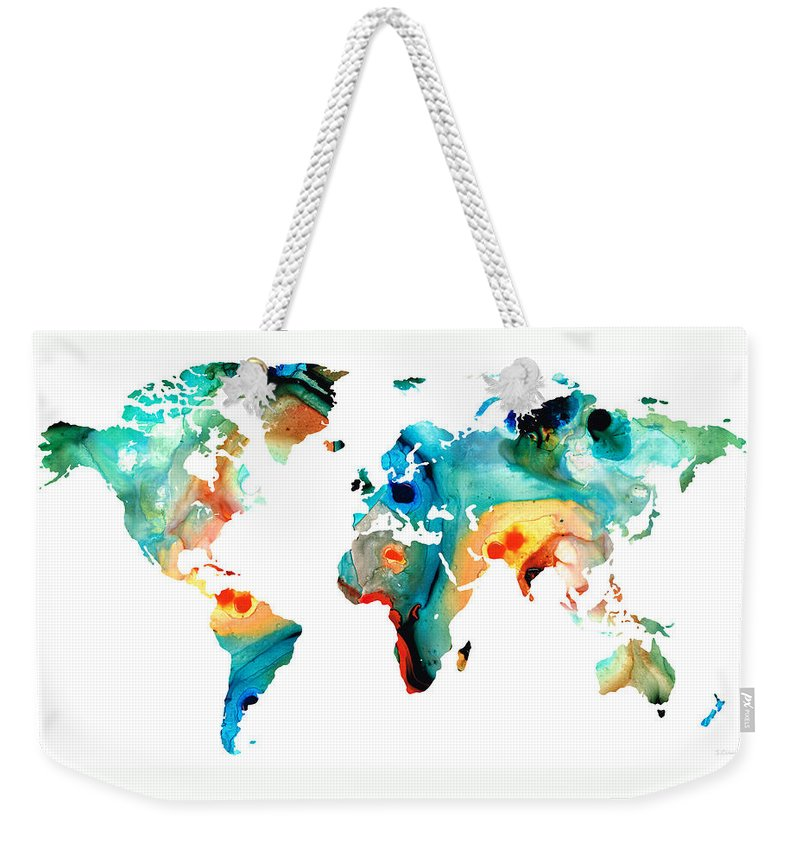 Map Of The World Weekender Tote Bags