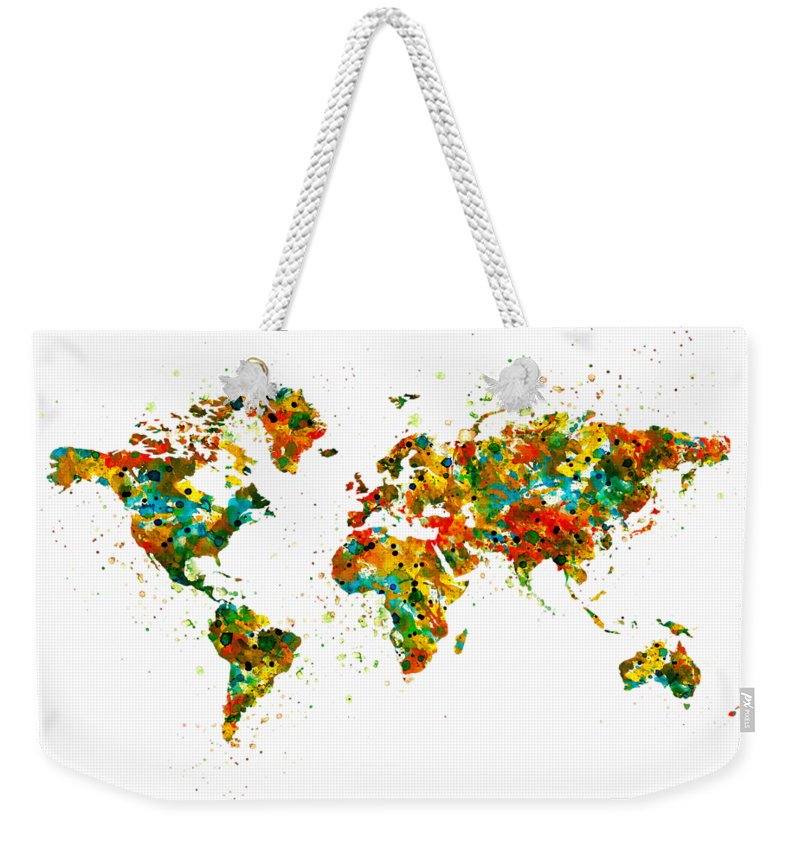 Map Of The World Weekender Tote Bag featuring the painting Map Of The World Watercolor by Marian Voicu