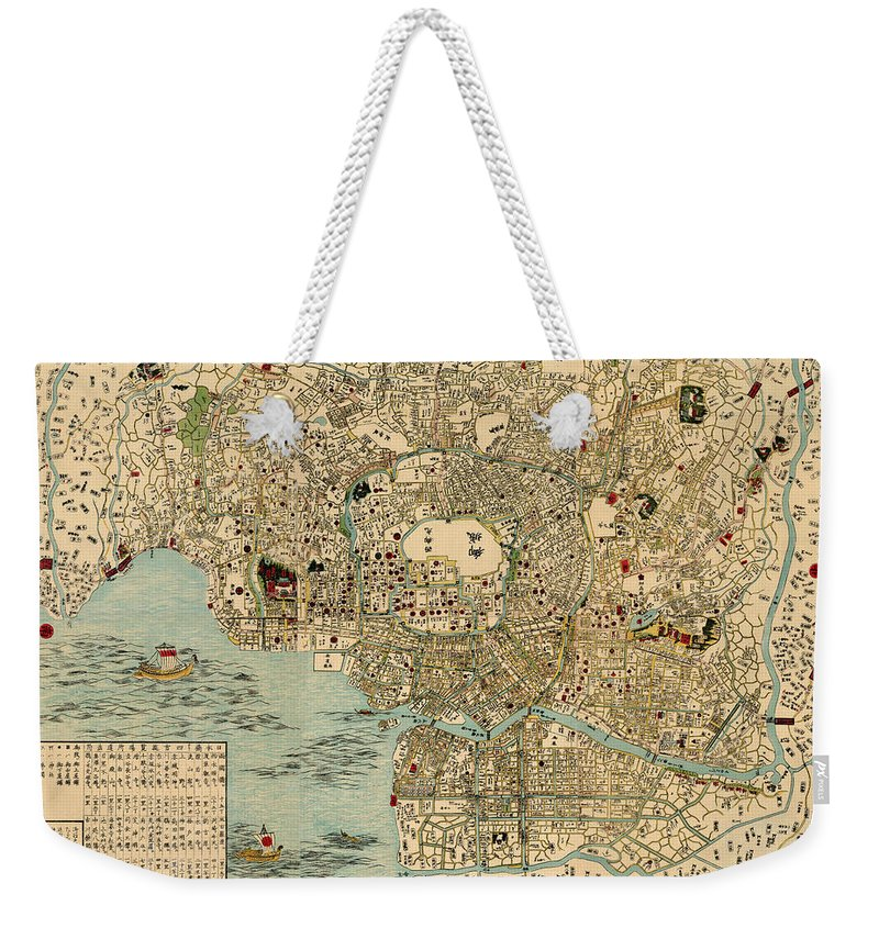 Map Of Tokyo Weekender Tote Bag featuring the photograph Map Of Tokyo 1854 by Andrew Fare