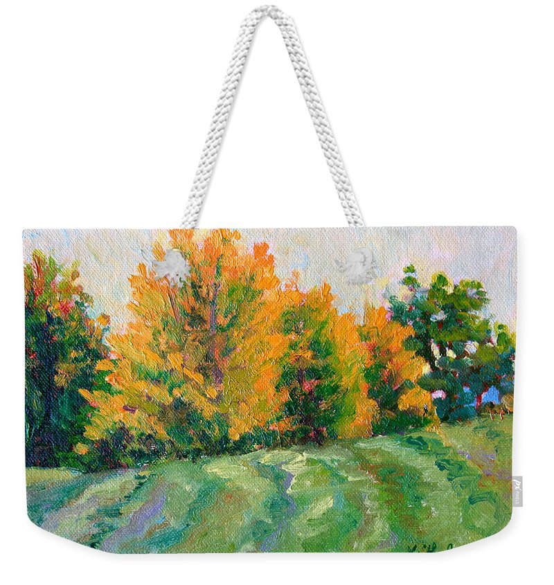 Impressionism Weekender Tote Bag featuring the painting Maple Grove by Keith Burgess