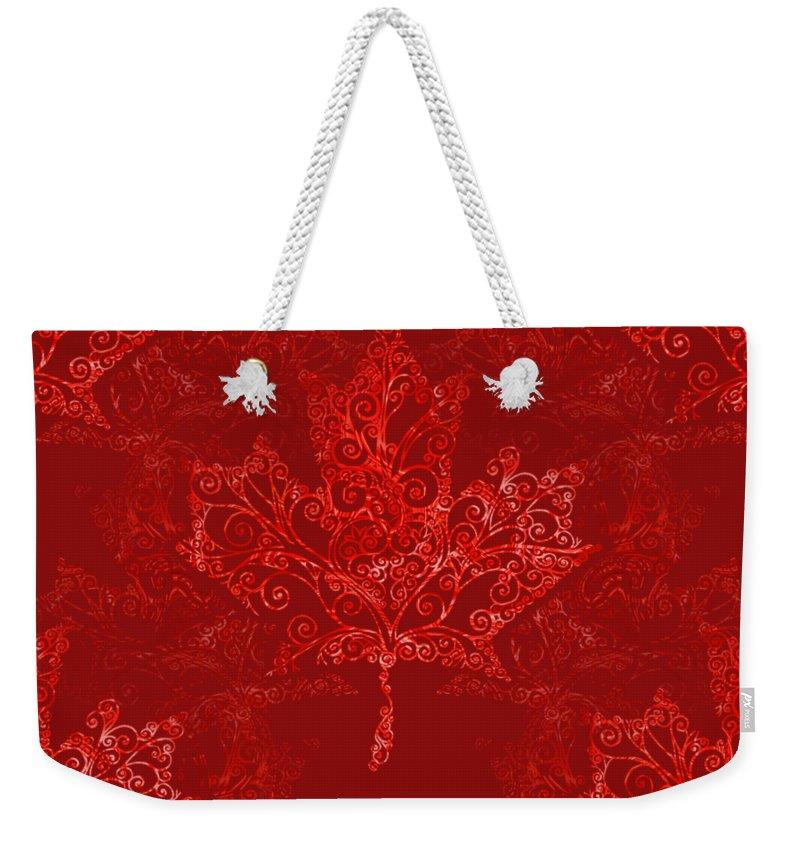 Maple Leaf Weekender Tote Bag featuring the digital art Maple Leaf Filigree Pattern by Katherine Nutt