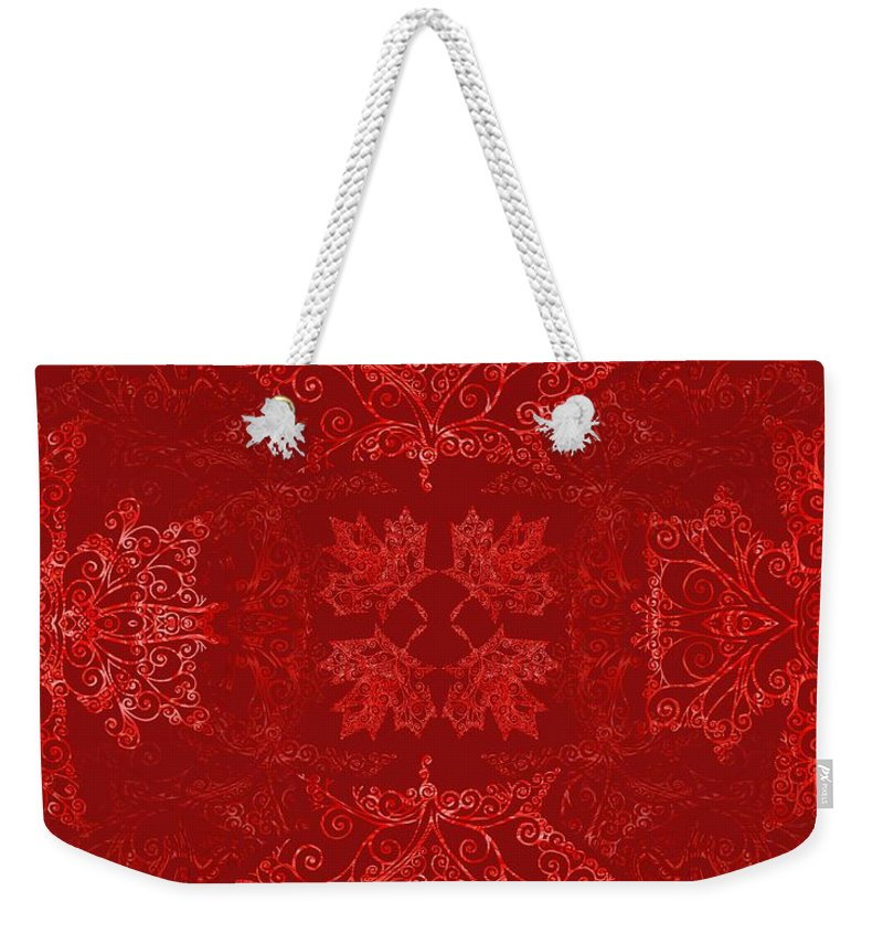 Maple Leaf Weekender Tote Bag featuring the digital art Maple Leaf Filigree Tiled Pattern by Katherine Nutt