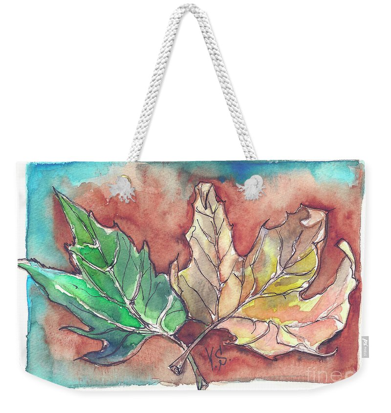 Maple Weekender Tote Bag featuring the painting Maple Leaves by Yana Sadykova