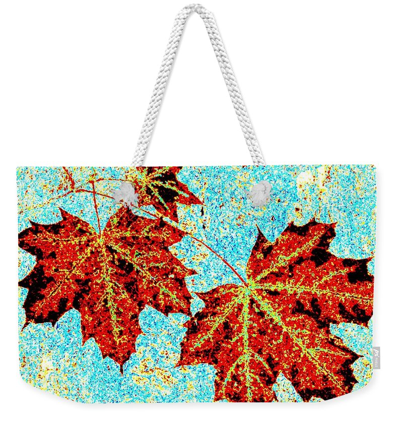 Cheerful Weekender Tote Bag featuring the digital art Maple Mania 13 by Will Borden