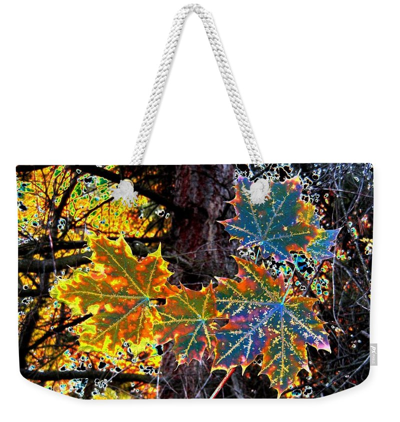Cheerful Weekender Tote Bag featuring the digital art Maple Mania 14 by Will Borden