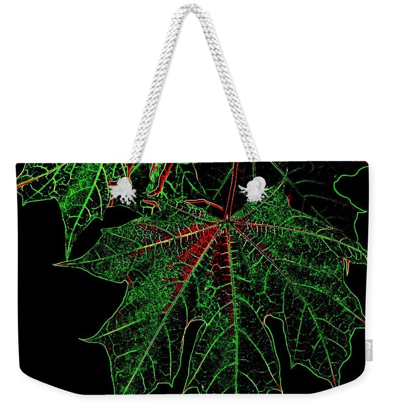 Cheerful Weekender Tote Bag featuring the digital art Maple Mania 18 by Will Borden