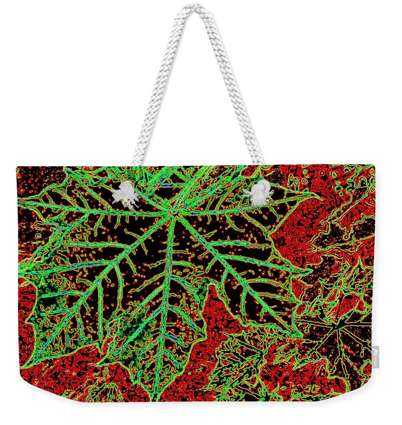 Cheerful Weekender Tote Bag featuring the digital art Maple Mania 7 by Will Borden