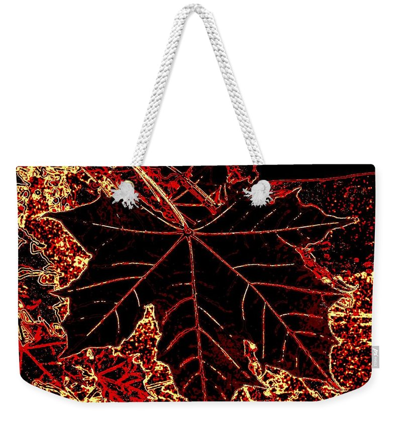 Cheerful Weekender Tote Bag featuring the digital art Maple Mania 9 by Will Borden