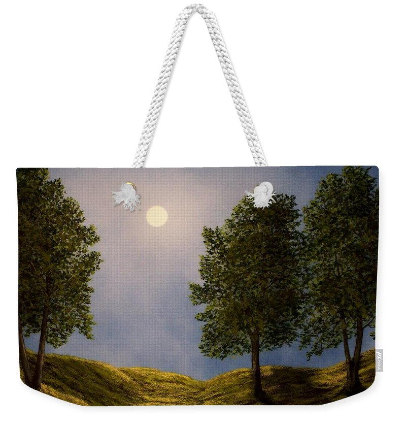 Mountains Weekender Tote Bag featuring the painting Maples In Moonlight by Frank Wilson