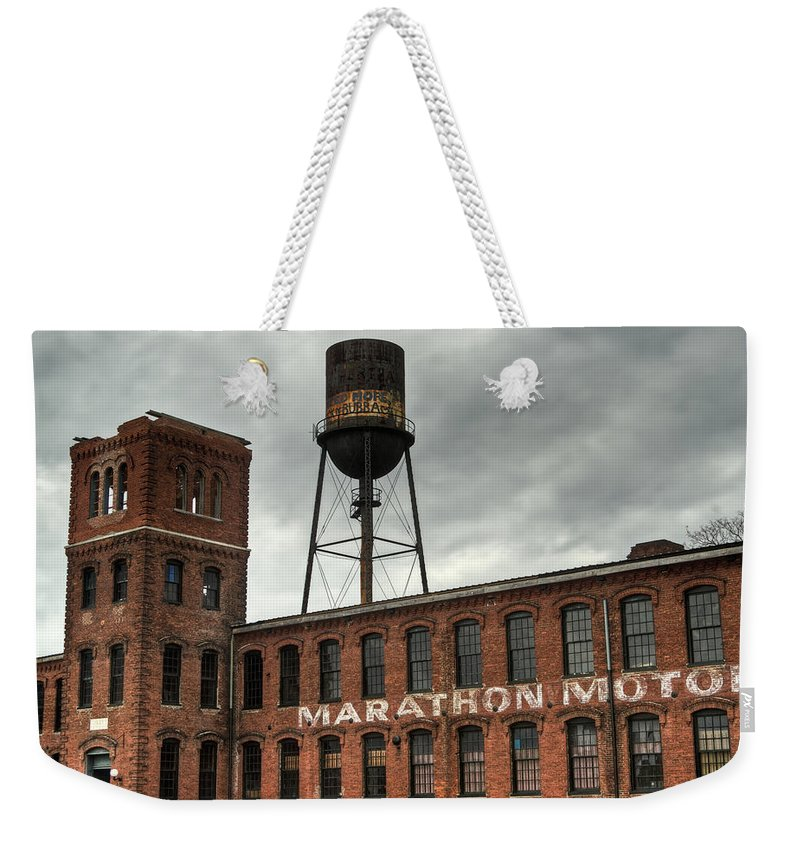 Marathon Weekender Tote Bag featuring the photograph Marathon Motor Cars Company by Douglas Barnett