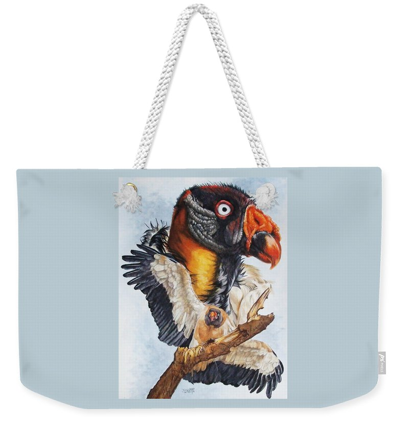 Vulture Weekender Tote Bag featuring the mixed media Marauder by Barbara Keith