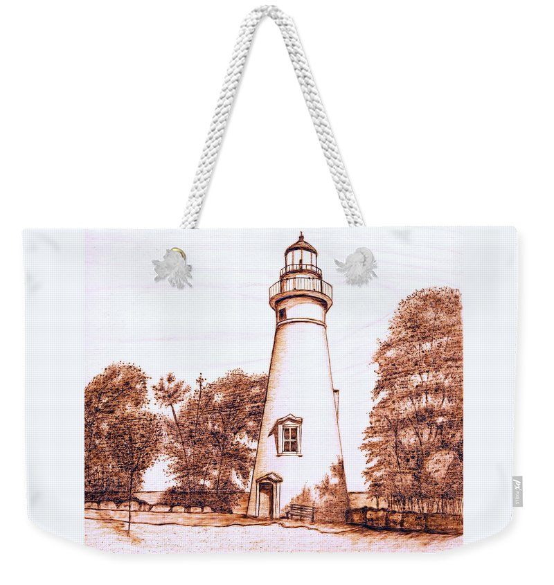 Lighthouse Weekender Tote Bag featuring the pyrography Marblehead Lighthouse by Danette Smith