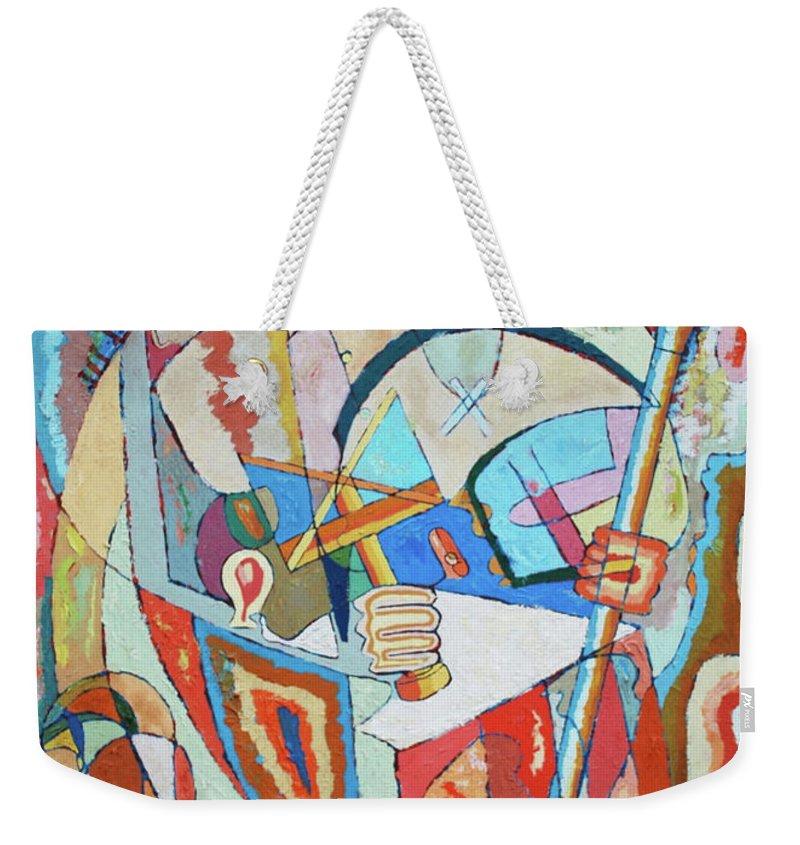 Johnpowellpaintings Weekender Tote Bag featuring the painting Marcus Garvey And Elders by John Powell