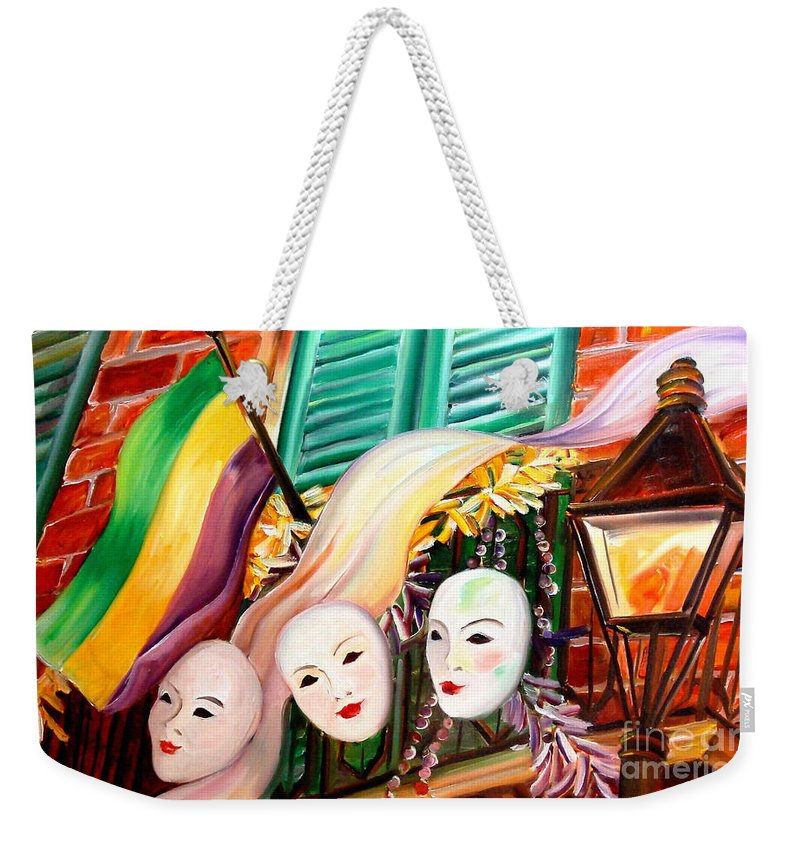 New Orleans Weekender Tote Bag featuring the painting Mardi Gras Balcony by Diane Millsap