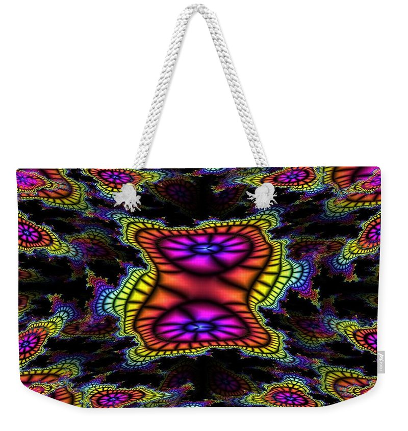 Mardi Gras Weekender Tote Bag featuring the photograph Mardi Gras Fractal by Tim Allen