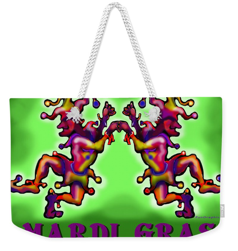 Mardi Gras Weekender Tote Bag featuring the digital art Mardi Gras by Kevin Middleton