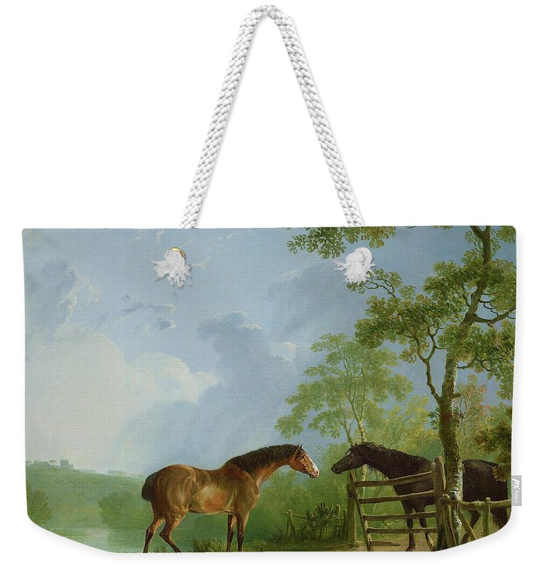 Mare Weekender Tote Bag featuring the painting Mare And Stallion In A Landscape by Sawrey Gilpin