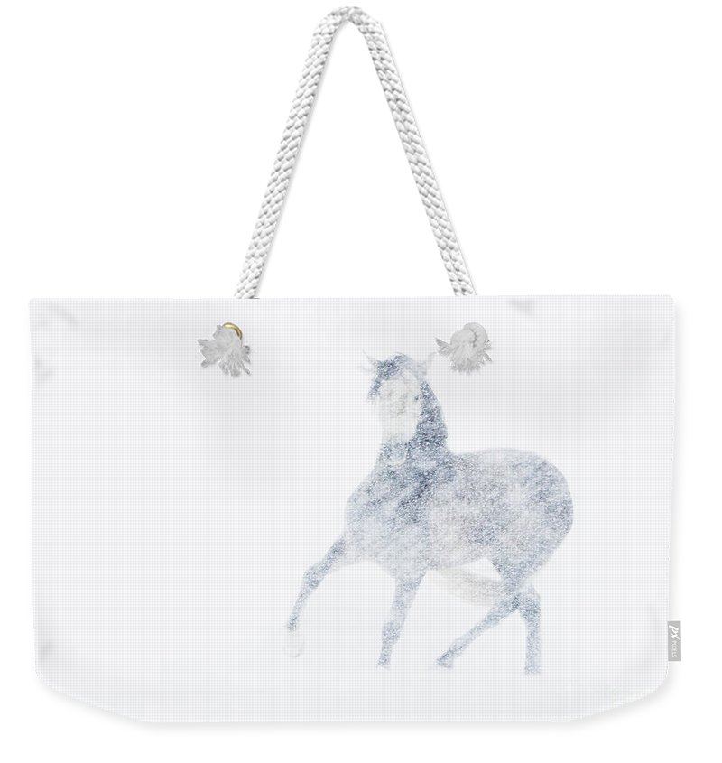 Mare Weekender Tote Bag featuring the photograph Mare In A Blizzard I by Carol Walker