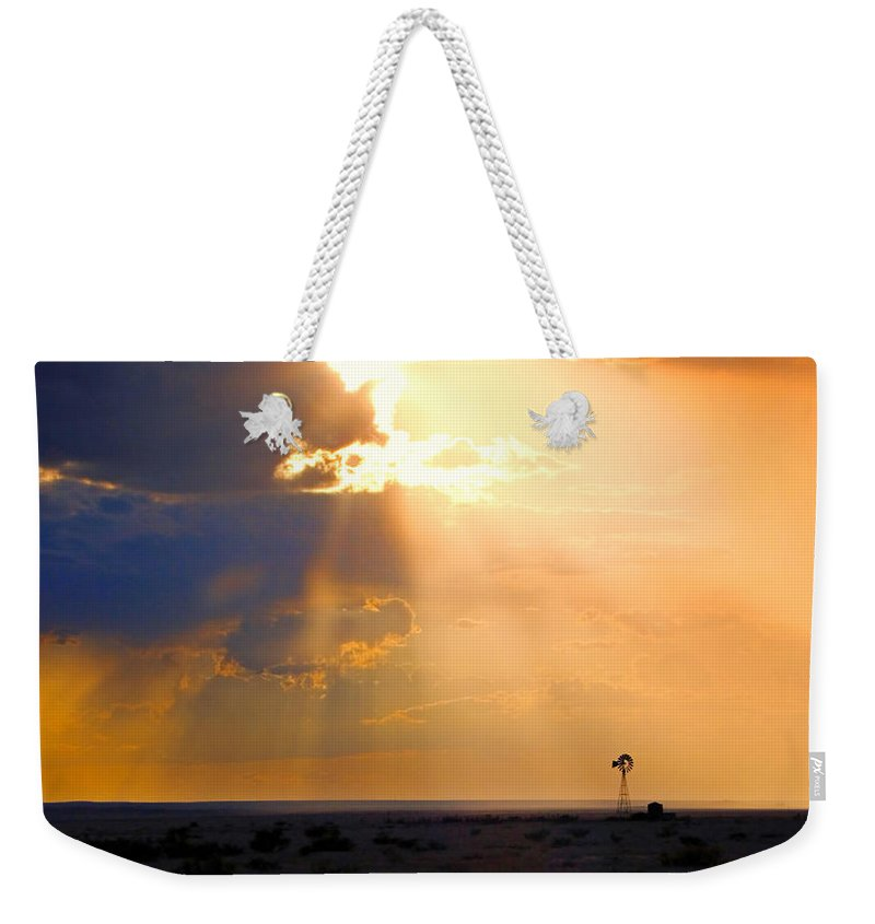 Skip Hunt Weekender Tote Bag featuring the photograph Marfa Windmill 1 by Skip Hunt