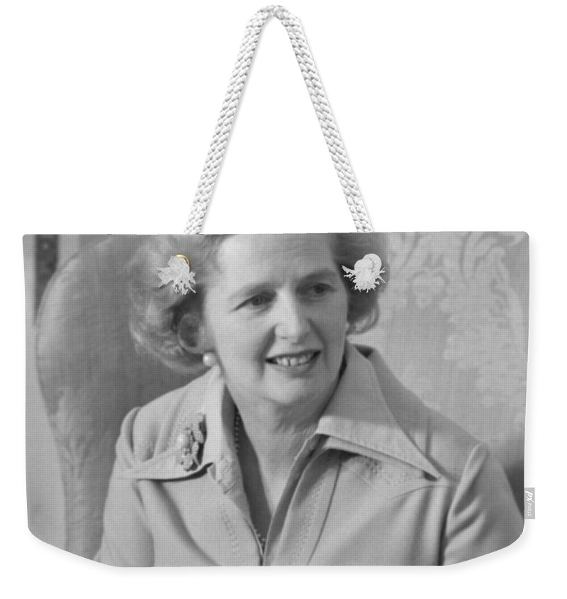 Margaret Thatcher Weekender Tote Bag featuring the photograph Margaret Thatcher by War Is Hell Store