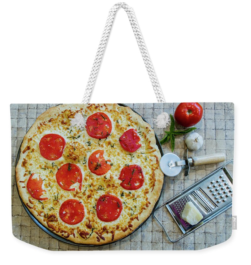 Baked Weekender Tote Bag featuring the photograph Margarita Pizza With Ingredients by Karen Foley