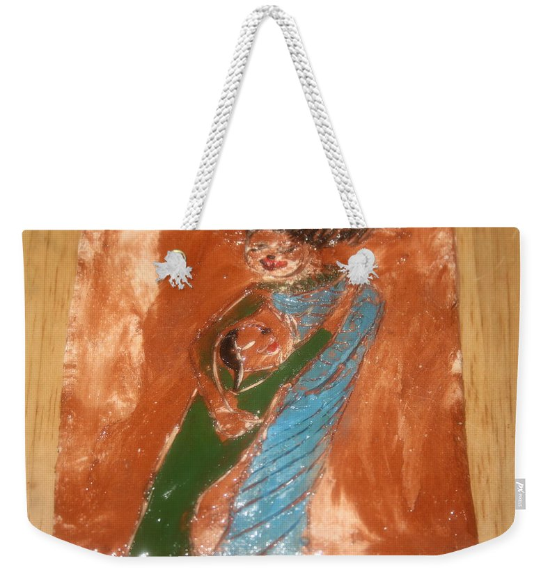 Jesus Weekender Tote Bag featuring the ceramic art Margs Gal - Tile by Gloria Ssali